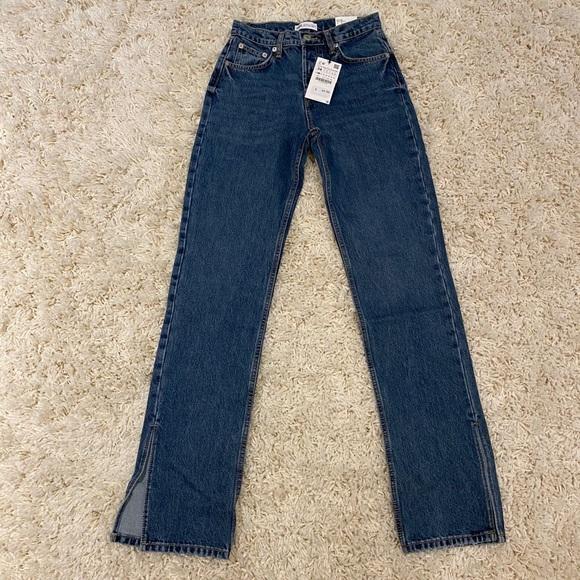 Zara Straight Split Mid Rise Full Length Jeans